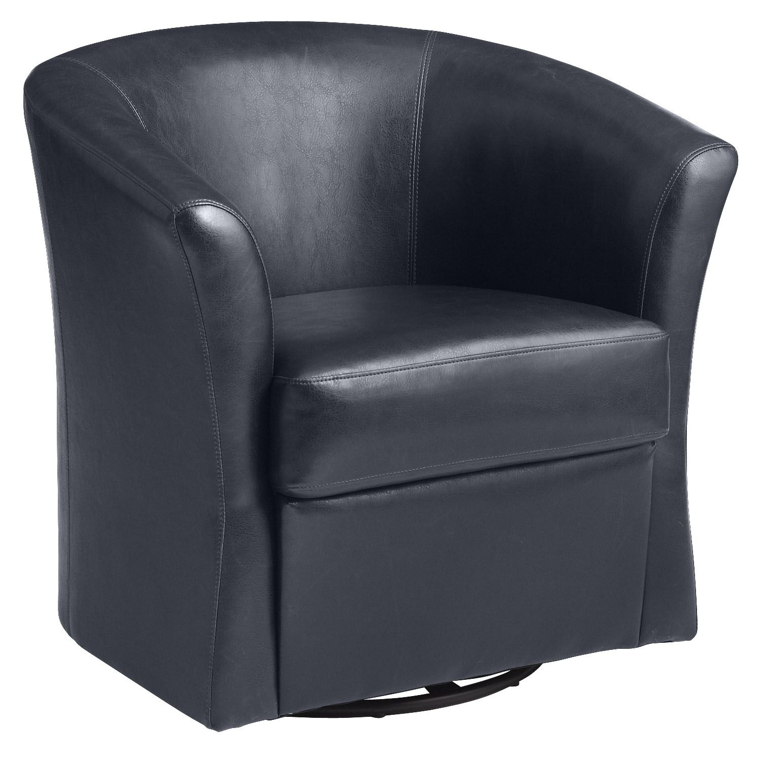 Isaac Swivel Chair Navy Leather Leather chair with