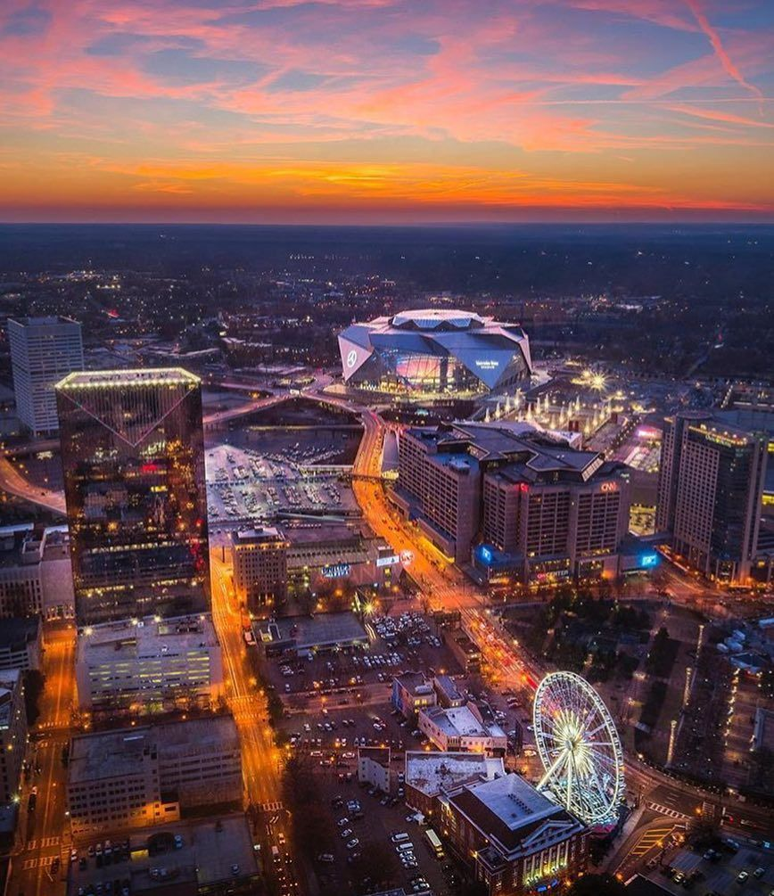 Atlanta A T L A N T A E Y E O N T H E P R I Z E All Eyes On Mercedesbenzstadium And The A Atlanta City Atlanta Downtown City