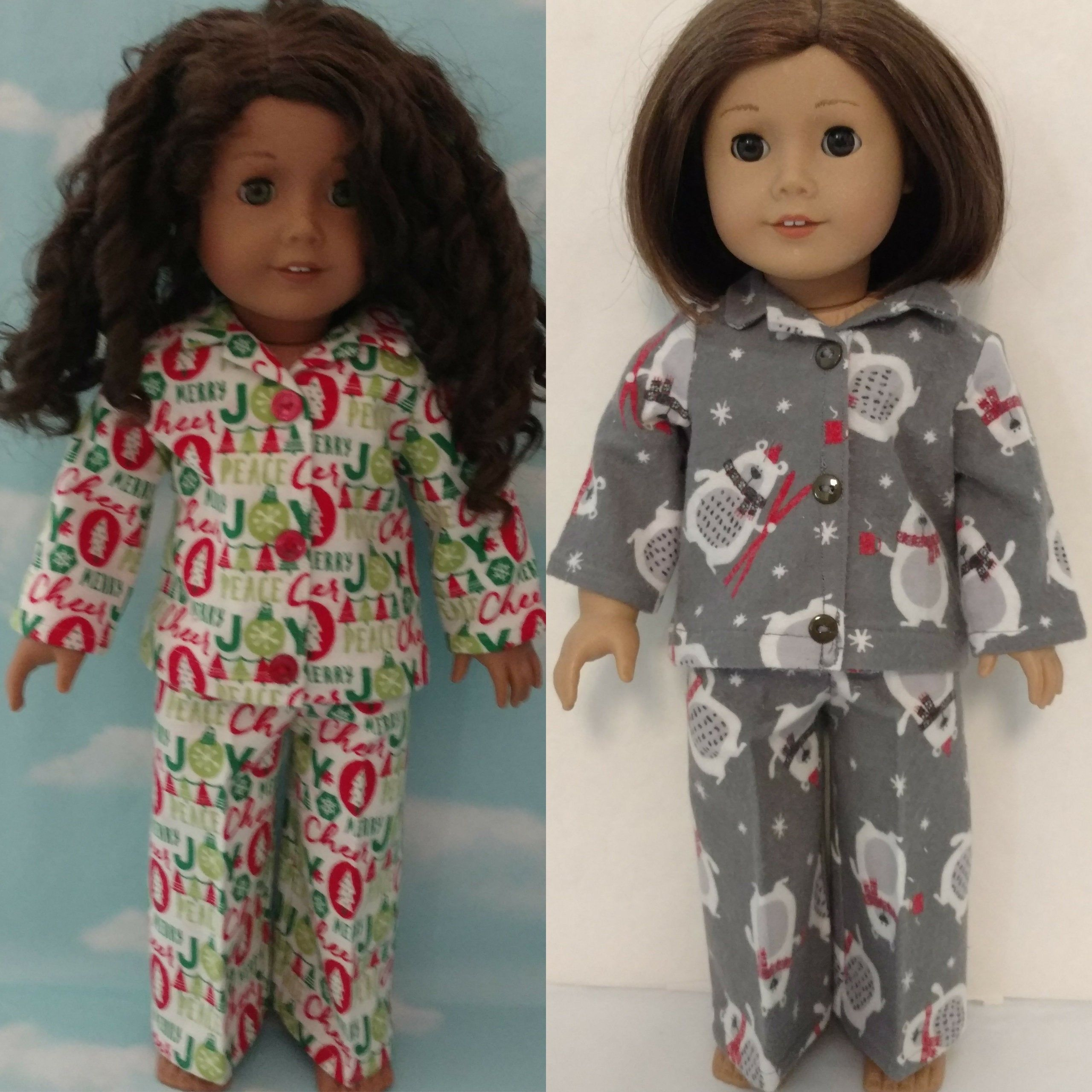 18 inch doll clothes, Christmas Pajamas fits 18 American Girl Dolls 418ab #18inchdollsandclothes