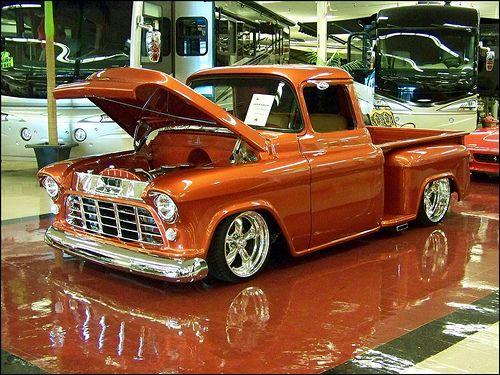 1956 Chevy Love The Orange Paint Job Classic Cars Trucks Classic Trucks Vintage Trucks