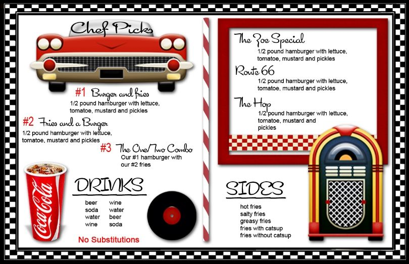 50s diner menu templates 50 39 s themed home decor for American cuisine movie download