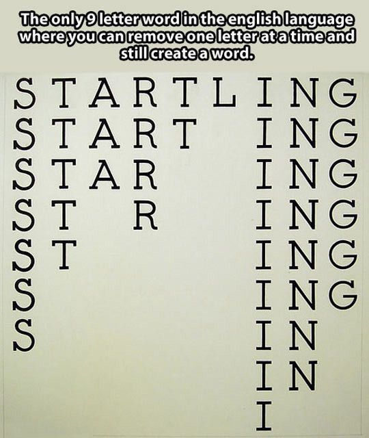 Startling The Only 9letter Word In The English Language Where You