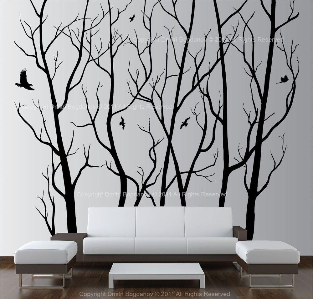 Vinyl Wall Decal Sticker Birds/' Tree Branch 1002s 46W x 42H