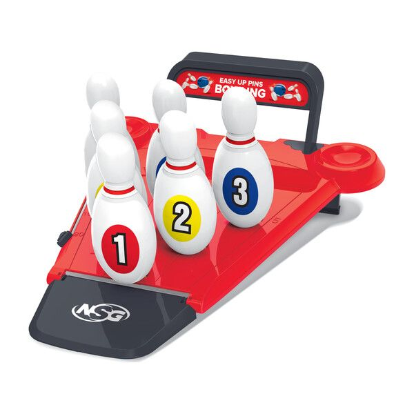 Love bowling but hate having to set up the pins over and over again? The new Easy Up Pins Bowling gives you all the fun of bowling without the difficult reset with its one click set up. Pins lie flat when not in use for convenient travel or storage. Perfect for indoor or outdoor use. For ages 3+ years. Includes: 1 Mini Bowling Alley 6 Easy Up Bowling Pins 2 Bowling Balls with finger holes for small hands 2 Ball Holders built into the Mini Bowling Alley for easy clean up Due to COVID-19 and adjus