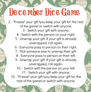 Christmas Gift Exchange Dice Game Printable.December Dice Game Merry Christmas Christmas Gift Games