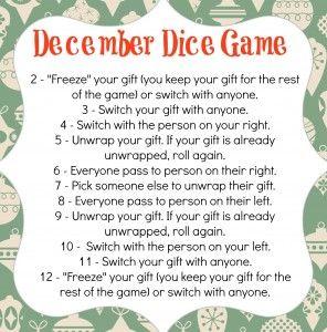 December Dice Game Merry Christmas Pinterest