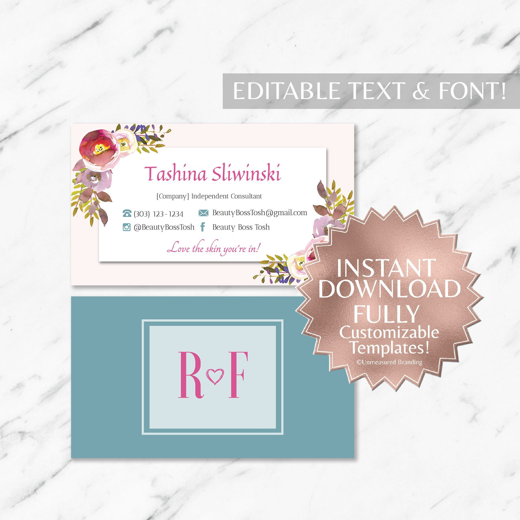 Floral And Teal Rf Business Cards Instant Template Rodan Fields