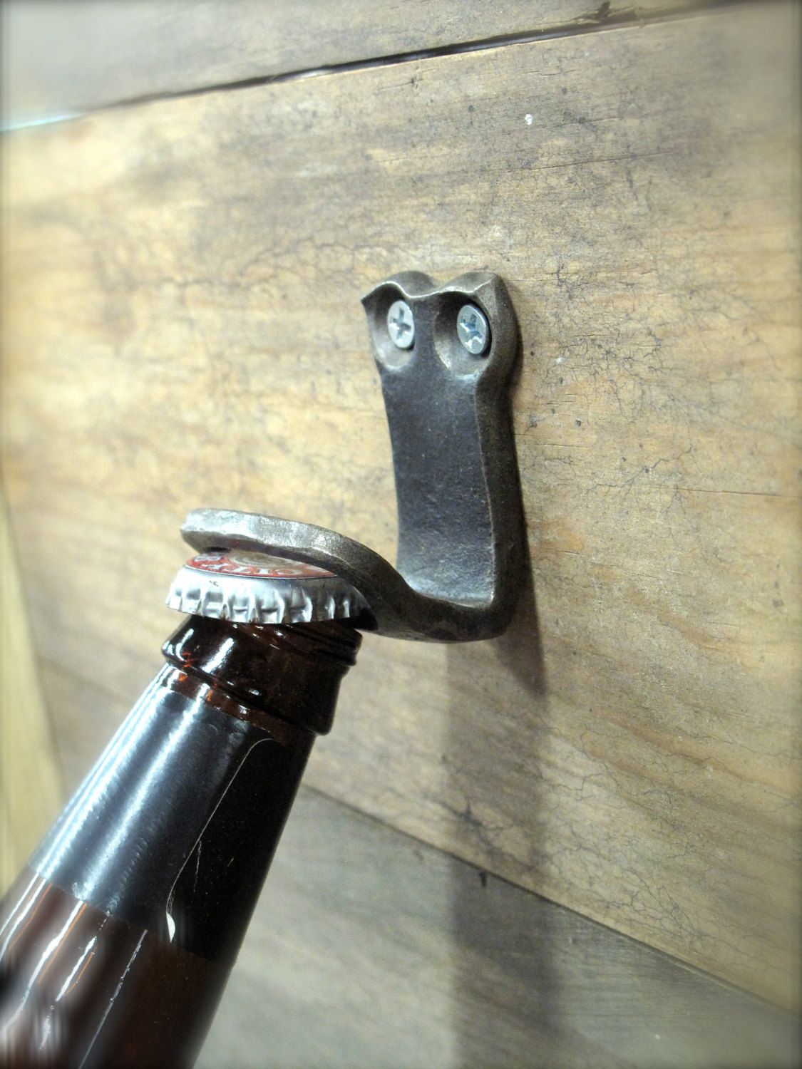 Bottle Opener Blacksmith Hand Forged Wall Mounted Wrought Iron Bar Tool Rustic Man Cave Decor