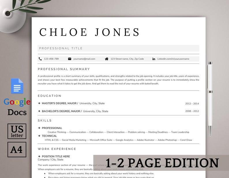 Google Docs resume template, minimalist resume template