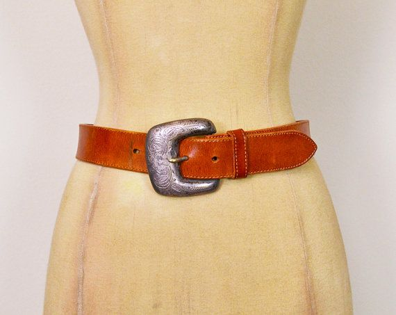 #Vintage #70s 80s Brown #Leather #Belt #Etched #Engraved Silver Buckle Wide Belt Cinch Waist Belt 70s Belt #Hippie Belt #Hippy Belt #Boho Belt XS 26 #Etsy #EtsyVintage #TrashyVintage @Etsy $38.00