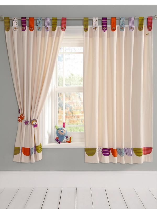 Beautiful Designed Mid Length Curtains With Multi Coloured Tab Tops In Assorted Printed Fabrics Size 132 X 160 Cm Each CurtainPlease Note Tie Backs Not