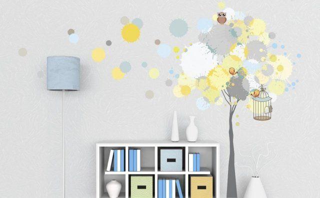 stickers chambre bébé en couleurs pastel - hiboux et arbre ...