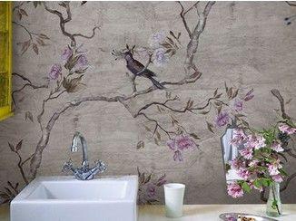Lovely Bathroom Wallpaper With Floral Pattern HANAMACHI   Wallu0026decò