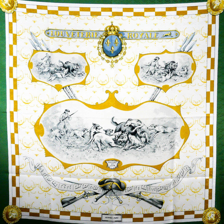 Louveterie Royale HERMES Silk Jacquard Rare carre   Hermes Artists ... f5d9d65d4a8