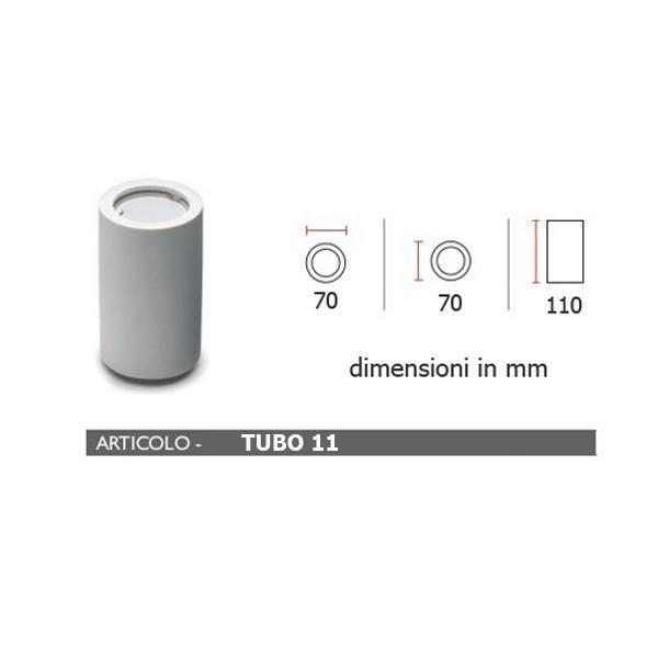 PORTA FARETTO IN GESSO LAMPADA A PLAFONE MODERNO GU10 PLAFONIERA TUBO 4 MISURE Art.Tubo7/11/13/19 #gesso
