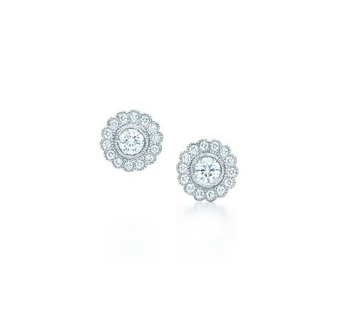 Tiffany & Co. | Item | Tiffany Enchant™ flower earrings in platinum with diamonds. | United States