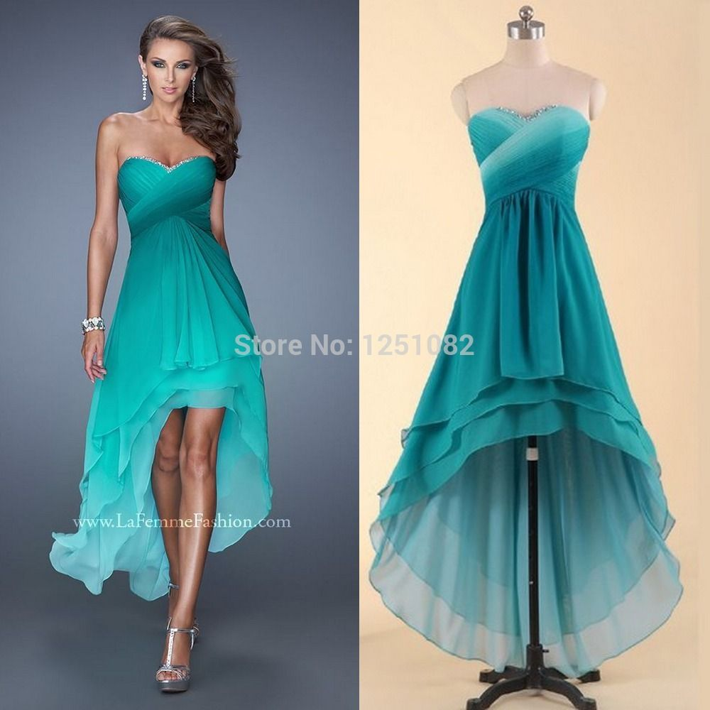 bridesmaid dresses teal short n the front long in he back - Google ...