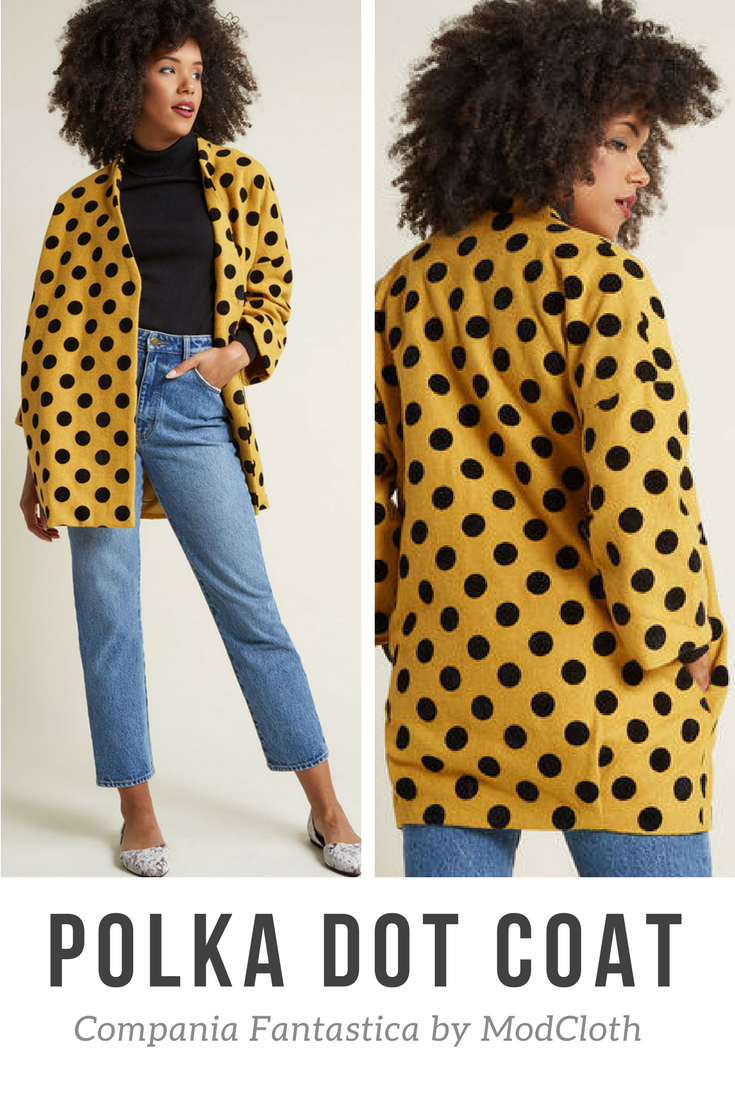 e755d68134fd Love this mustard yellow polkadot coat by Compania Fantastica from  ModCloth. The goldenrod hue is perfect for that fun pop of color and the  flocked black ...