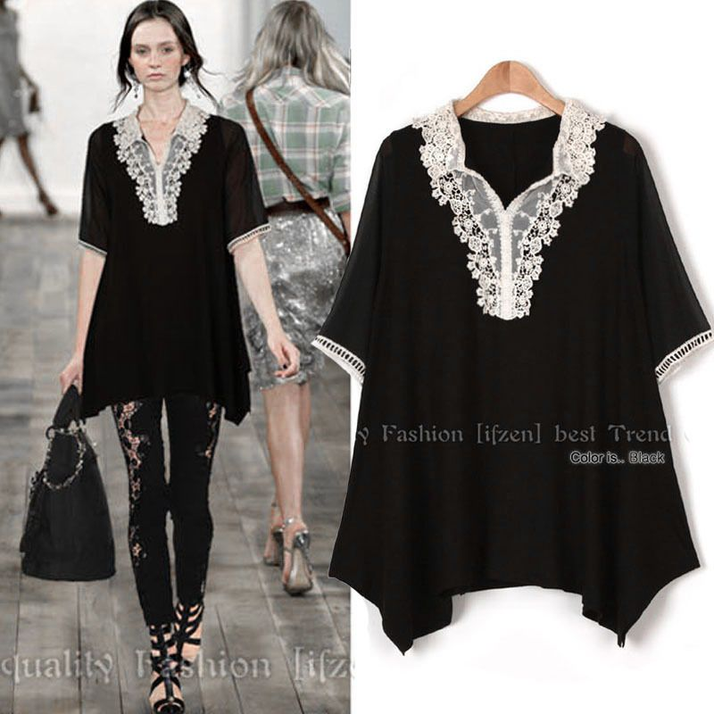 Cheap Dresses, Buy Directly from China Suppliers:  X1102 L - 5XL Big Size Clothing 2015 New Summer European Loose Lace Edge Hollow Swallow Tail Chiffon Dress Vesti