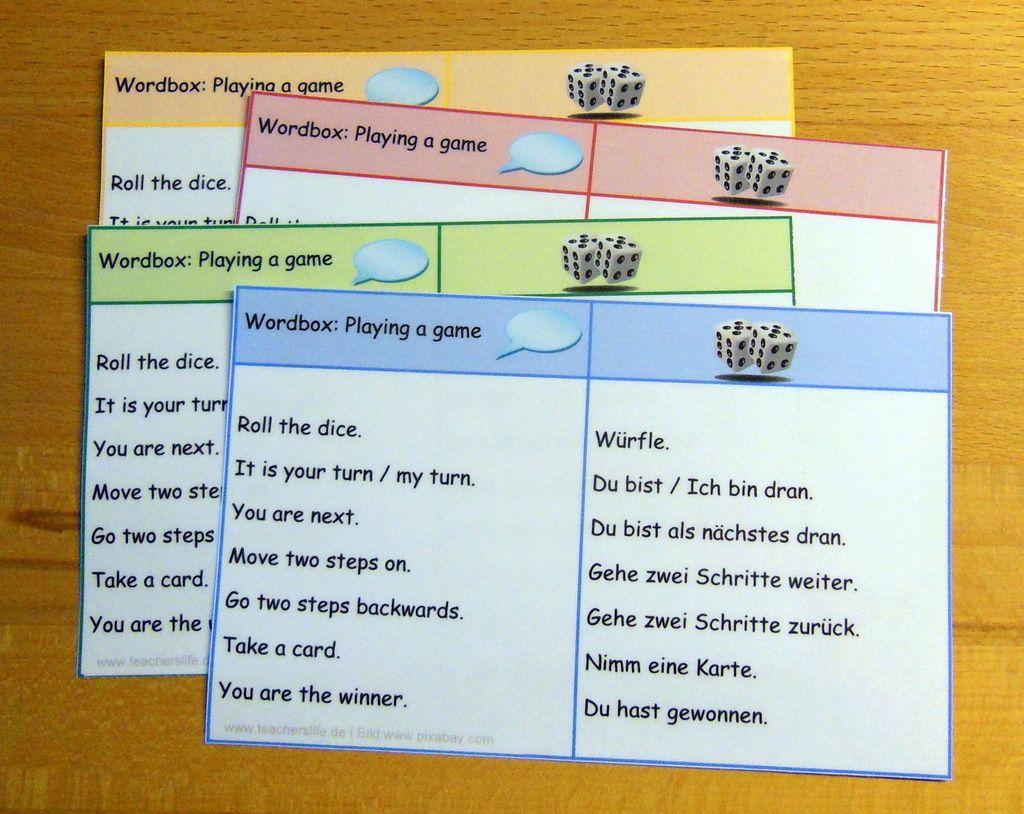 Redemittel Wordbox For Playing A Game Teacher S Life Englisch