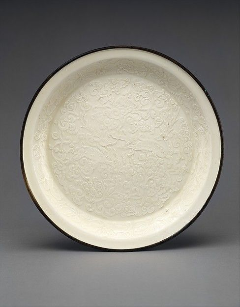 Plate Period Jin Dynasty 1115 1234 Date 12th 13th Century Culture China Medium Porcelain With Mold Impressed Decora Antique Ceramics Plates Chinese Ceramics