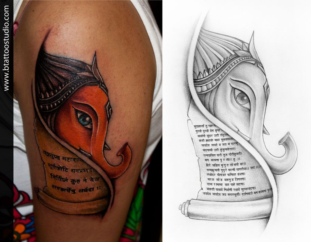 lord ganesha concept design and inked by at