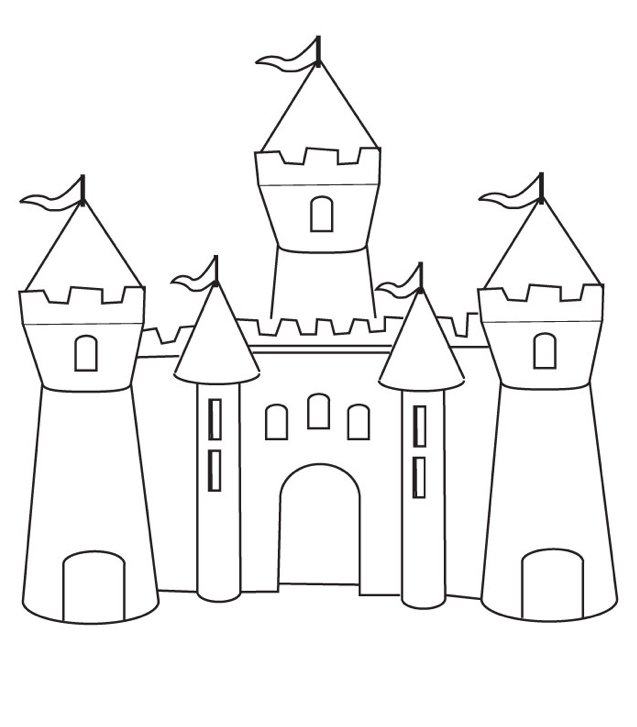 Print coloring page and book, Castle Coloring Page for