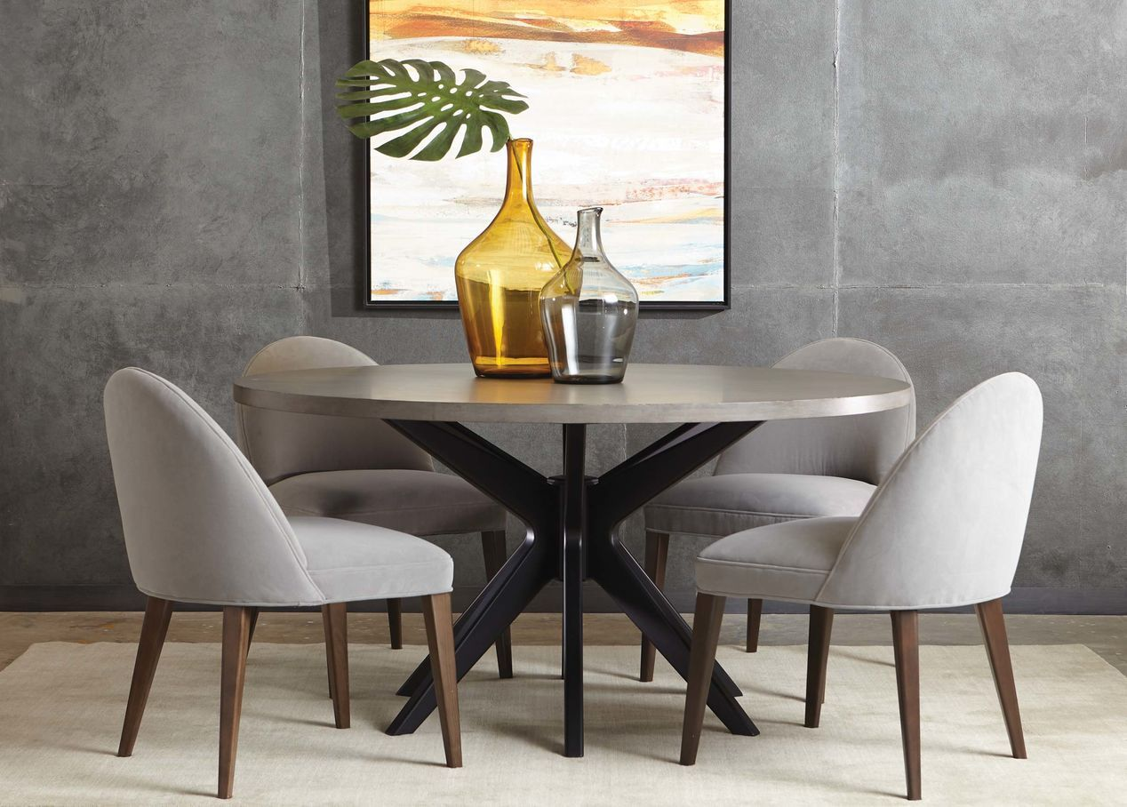 Hazelton Midcentury Modern Round Dining Table Round Dining Room