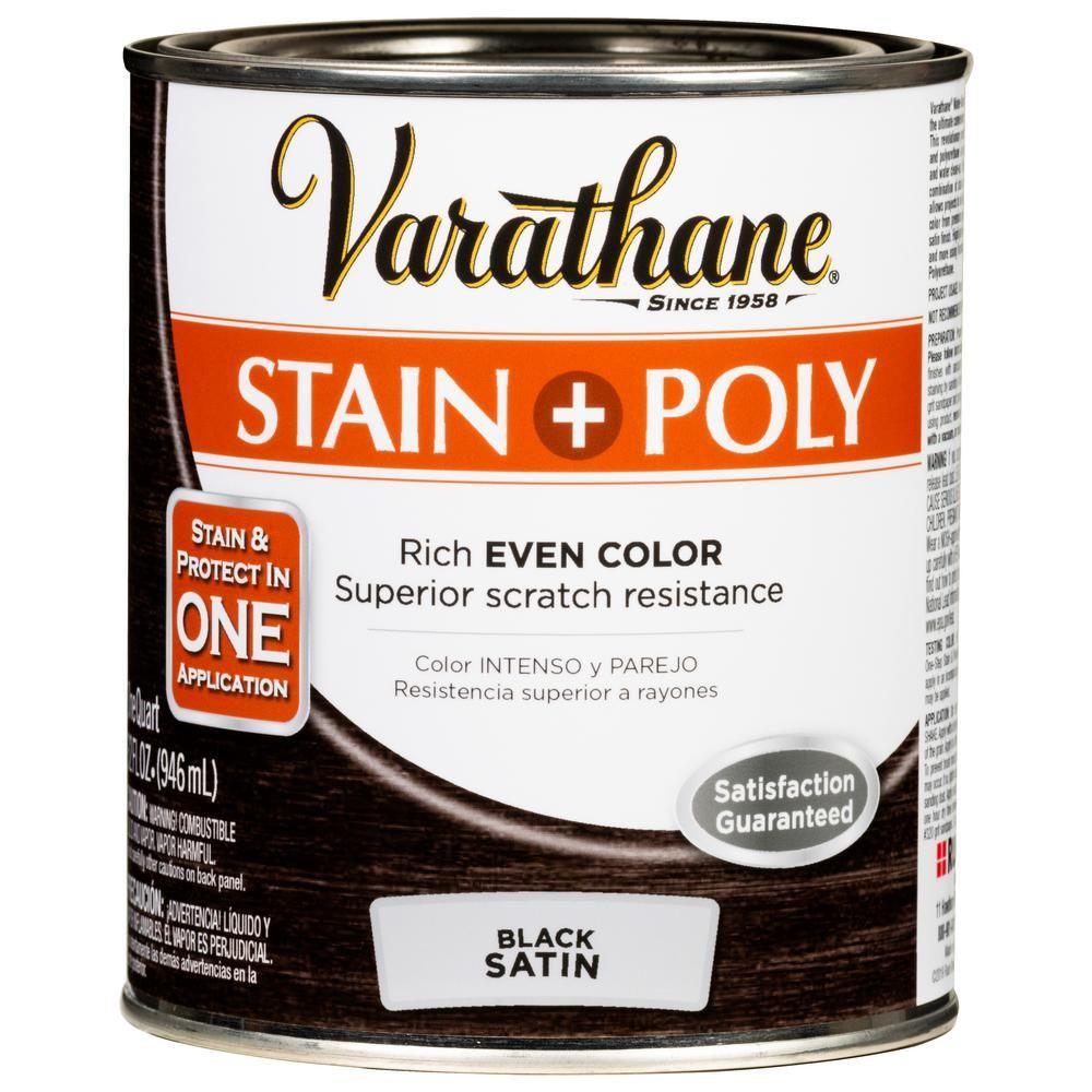 Varathane 1 Qt Black Satin Water Based Interior Stain And Polyurethane 2 Pack American Chestnut Interior Wood Stain Varathane Stain