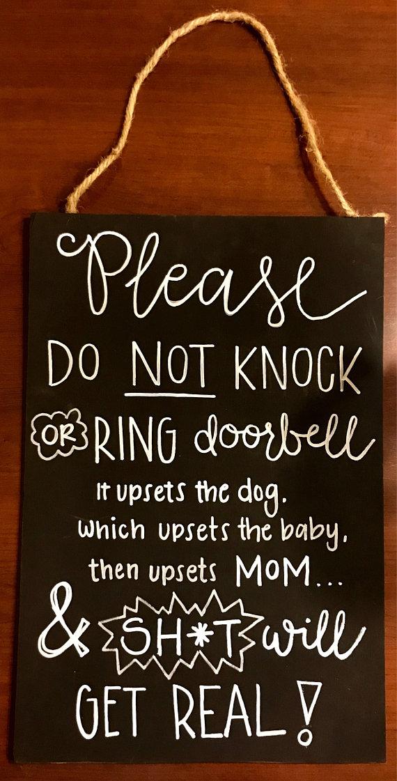 No Soliciting No Solicitation Do Not Knock or Ring Door Bell Baby Asleep Door Sign Custom Two-Sided Hanger Funny Crazy Door Hanger Sign