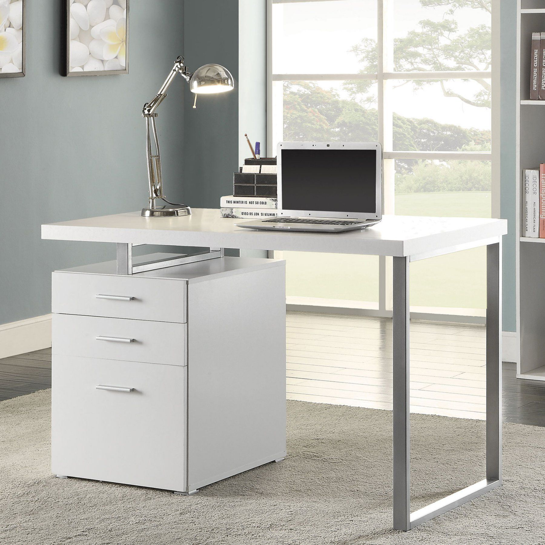 Coaster Furniture White Writing Desk with 3 Storage ...
