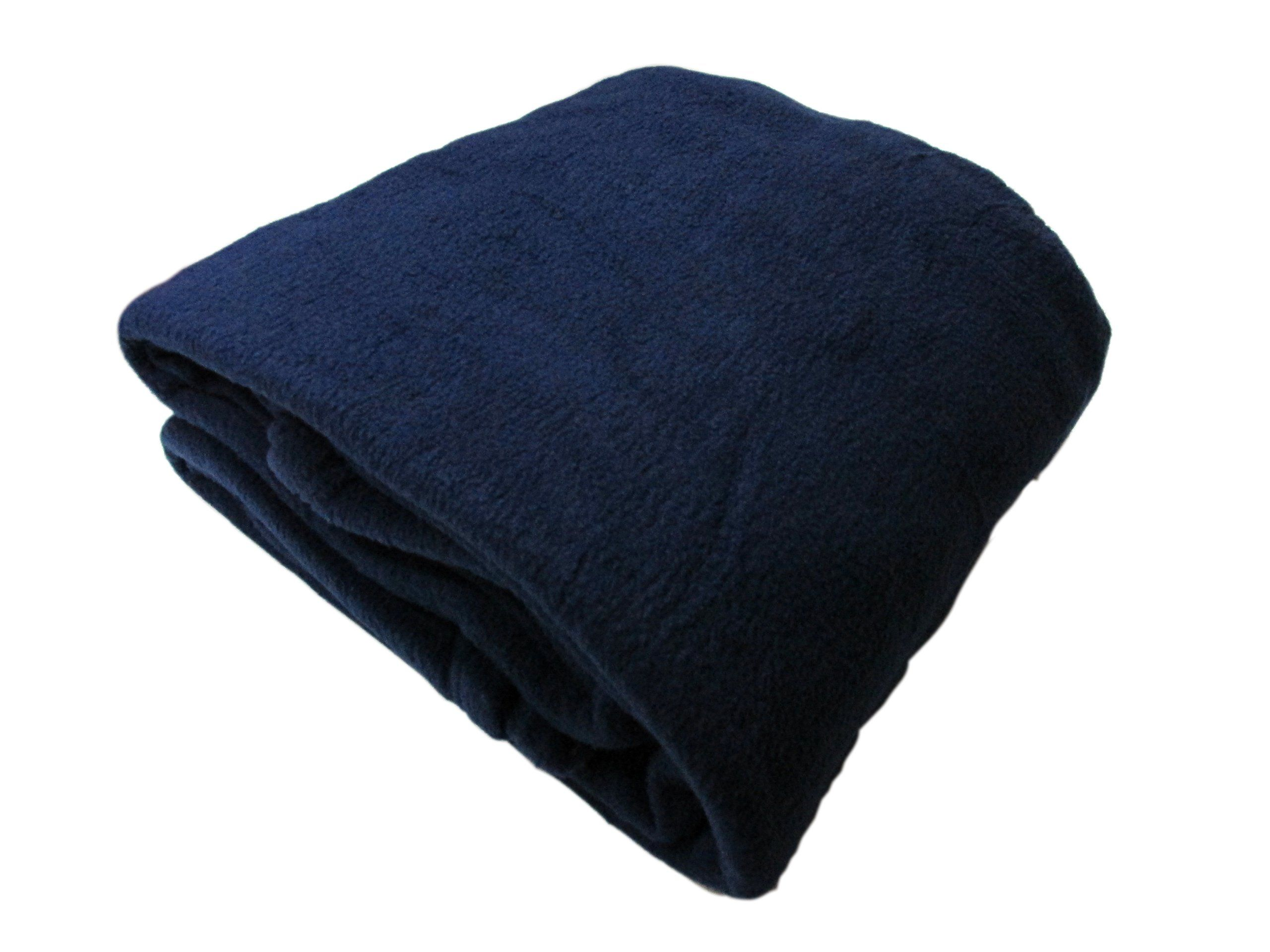 Cozy Fleece Alta Luxury Hotel Fleece Blanket, King, Navy
