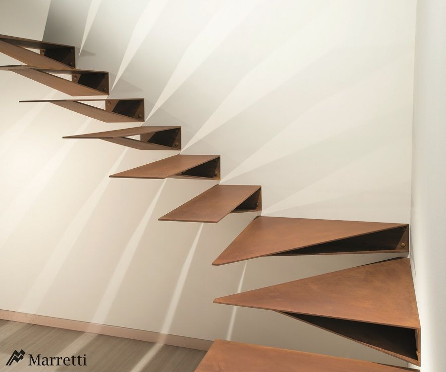 New ORIGAMI Model Cantilever Staircase Made From CORTEN