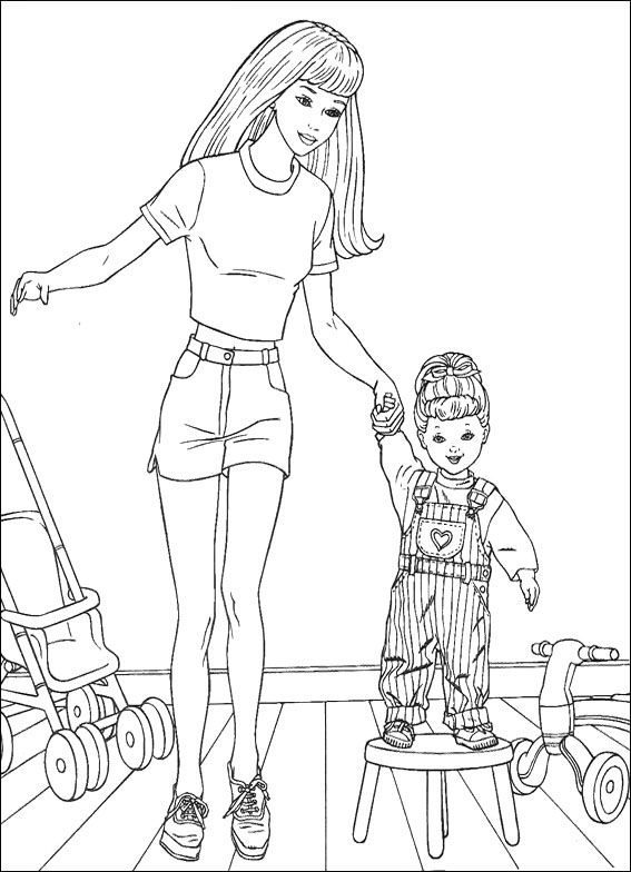 Barbie With Baby Coloring Pages Barbie Dolls cartoon