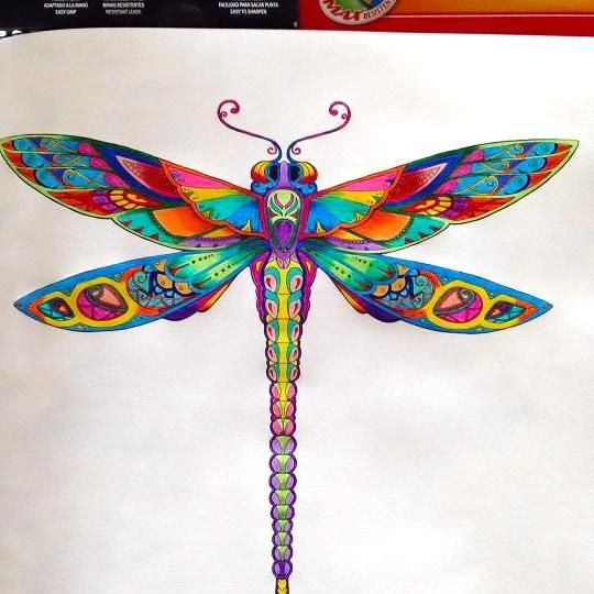 Bonny rainbow-color dragonfly tattoo design | dragonfly ...