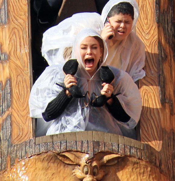 Sofía Vergara y sus caras locas en la montaña rusa. ¡Imperdible!