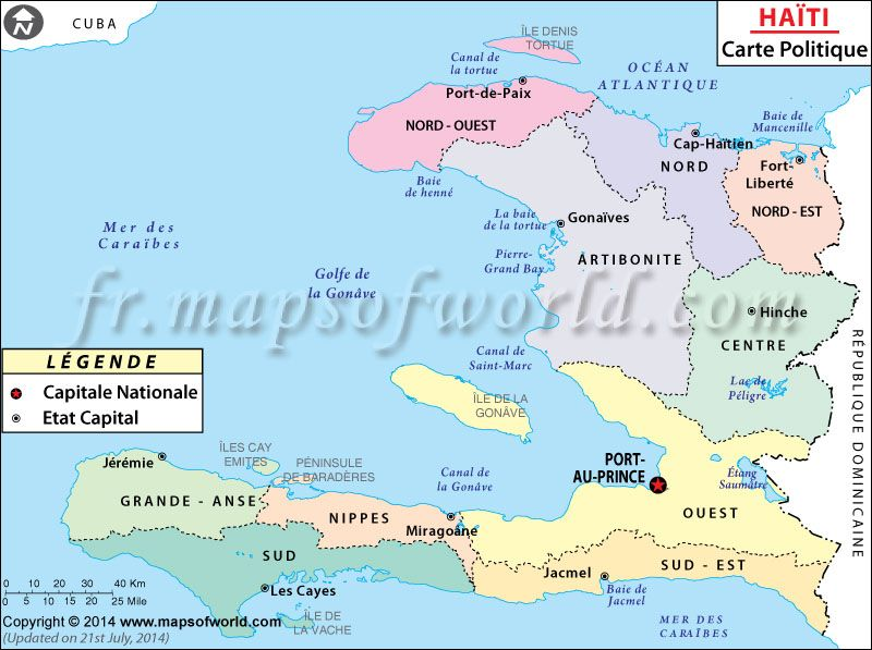 Carte du hati map of haiti mapsinfrench cartedumonde carte political map of haiti illustrates the surrounding countries with international borders 10 departments boundaries with their capitals and the national gumiabroncs Images