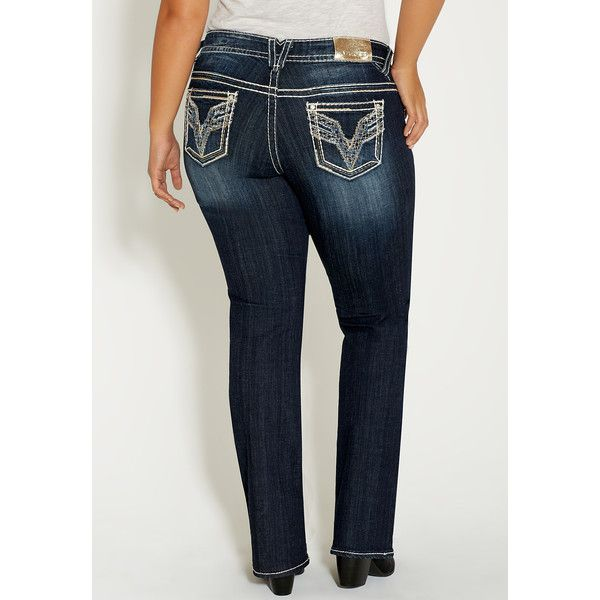 maurices plus size - vigoss slim boot jeans ($88) ❤ liked on
