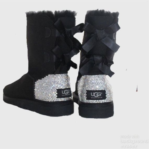 new arrival e4a5a 803af UGG Bailey Bow Swarovski Bling Boot - Black | shoes in 2019 ...