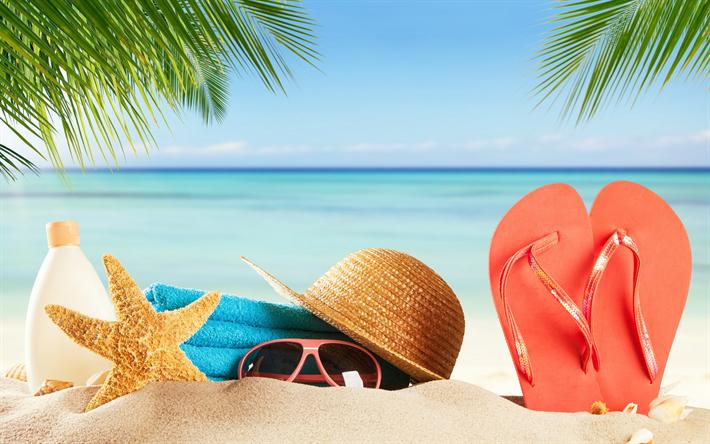 Download Wallpapers Beach Accessories Summer Sea Summer Vacation Beach Sand Sunglasses Sunscreen Towel Besthqwallpapers Com Beach Cartoon Beach Accessories Beach Wallpaper