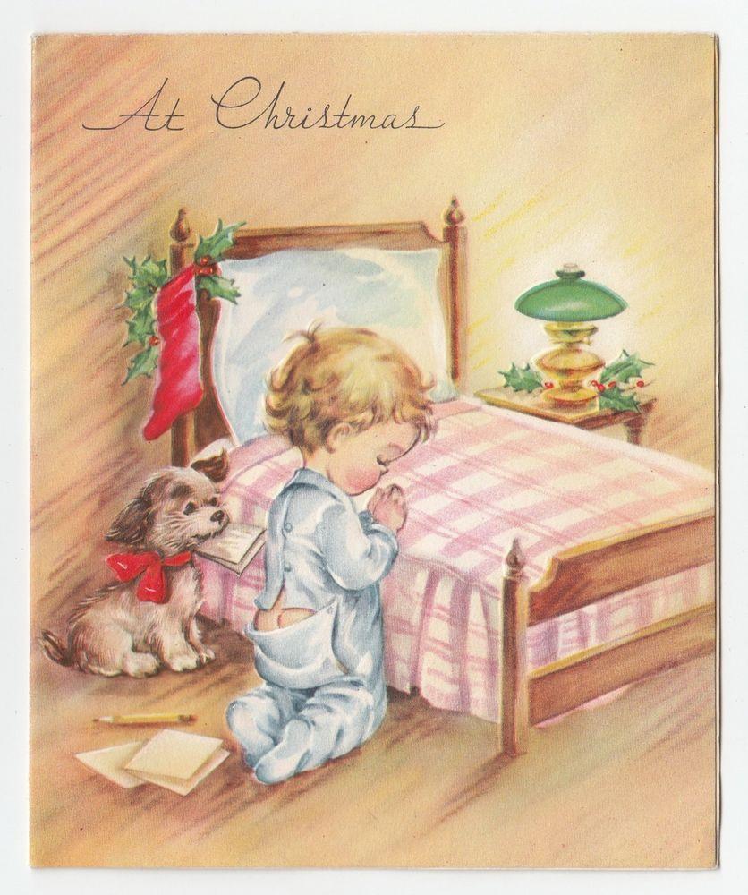 Vintage Greeting Card Christmas Little Boy Praying Kneeling By Bed