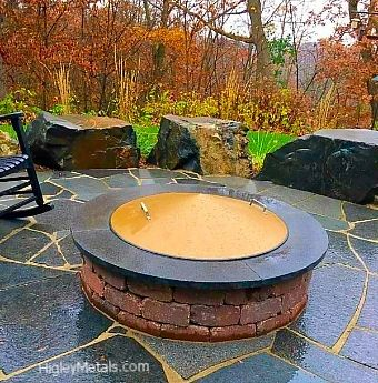 Conical shaped fire pit covers. brown/boronze hammer finish