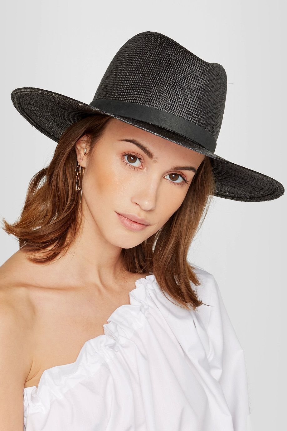 e1aa71003ee282 Janessa Leone Lynn leather-trimmed straw Panama hat $285 Black straw and  leather 100% straw Spot clean