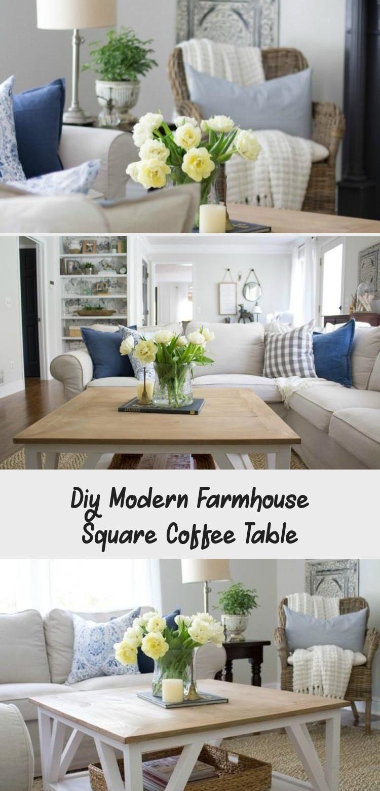 Diy modern farmhouse square coffee table in 2020 modern