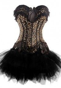 leopard print corset top with black net tutu skirtol1022