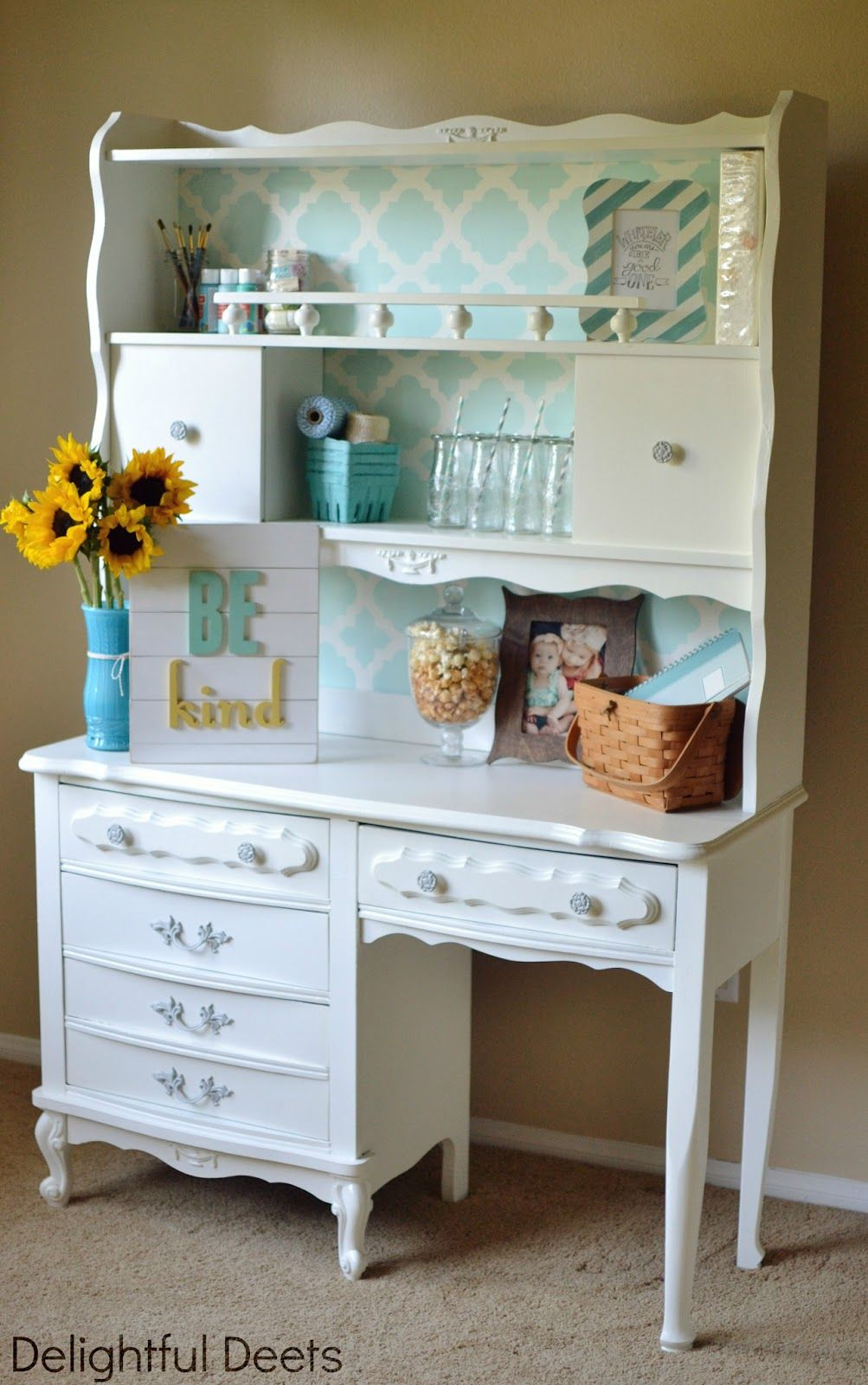 Delightful Deets: Vintage Desk & Hutch Makeover {Giveaway from Cutting Edge  Stencils & Evie Ivy Typography Signs} - Aniyah Has This Exact Desk And Hutch. I Even Painted The Desk