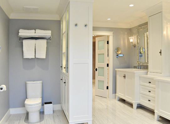 Add A Cabinet In Master Bathroom To Separate Toilet From The Rest