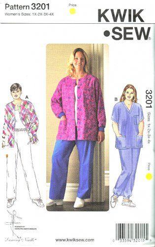 Kwik Sew Sewing Pattern 3201 Women\'s Plus Size 1X-4X (22W-32W) Scrub ...