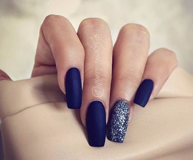 25 Matte Nail Designs You Ll Want To Copy This Fall Blue Matte Nails Blue Glitter Nails
