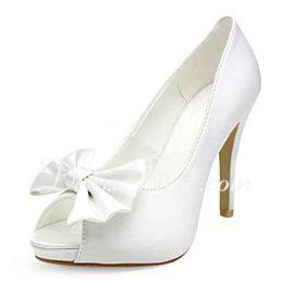 d2c326c58298 Satin Talon aiguille Bout ouvert Semelle compensée Escarpins Chaussure de  Mariage avec Nœud papillon (047010748) Dress First